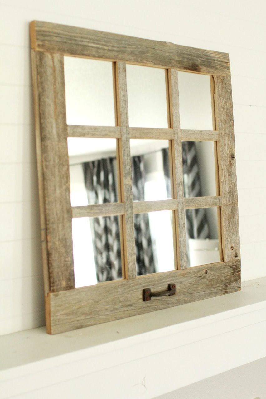Farmhouse Mirror | 9 Window Pane Mirror | Barnwood Mirror