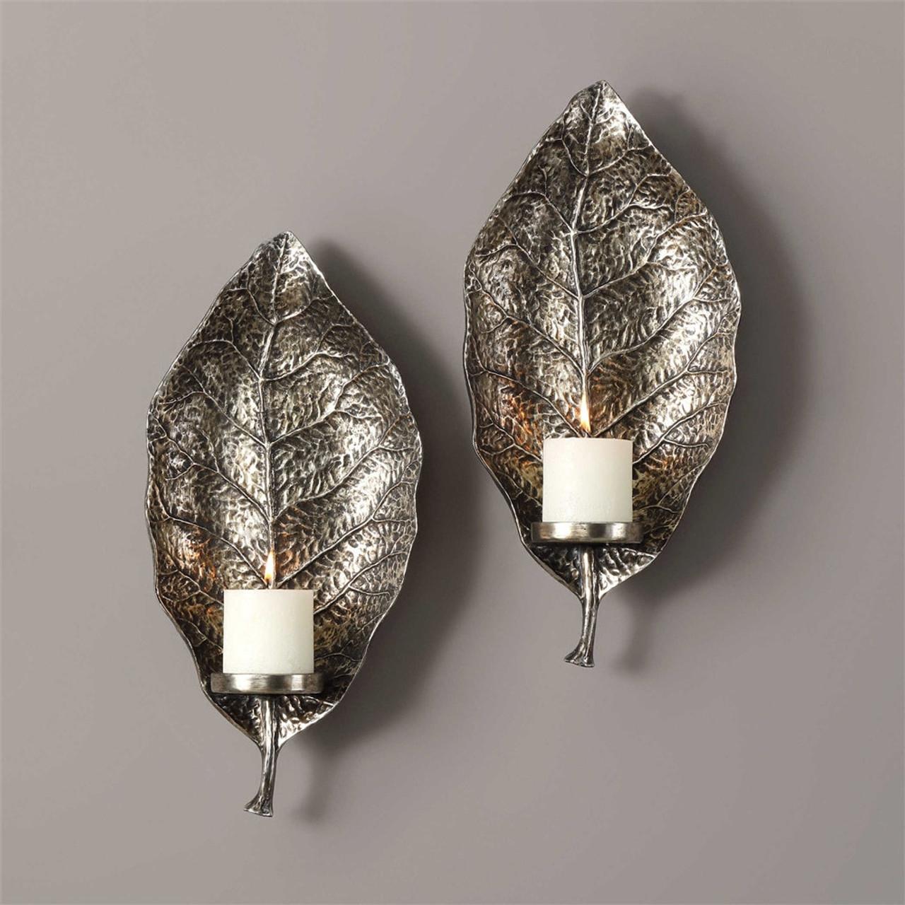Uttermost Zelkova Leaf Wall Sconces S2 Mybarnwoodframes