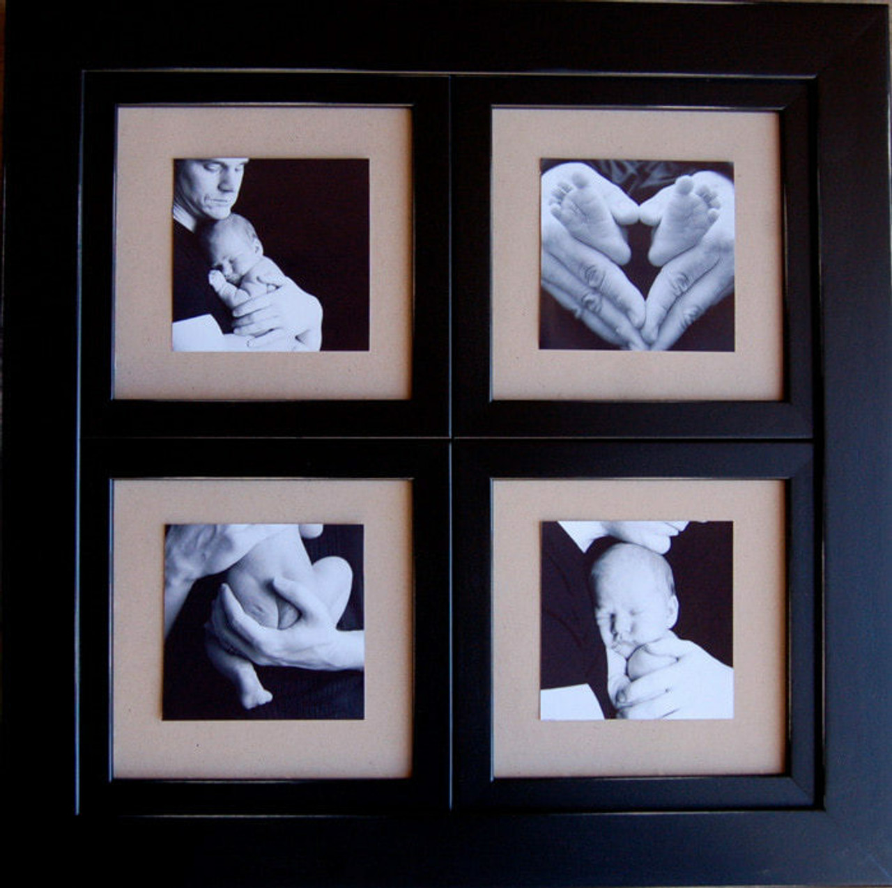 Window Pane Collage Frame | Black Wood 8x8 Four Openings