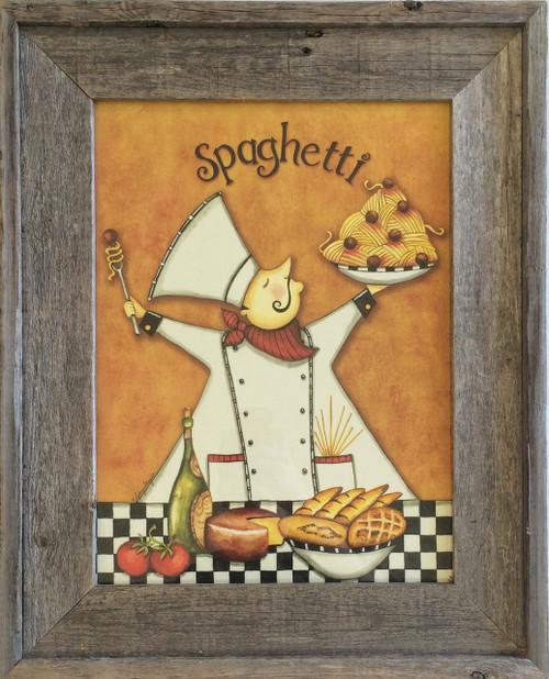 Rustic Wall Decor Chef Spaghetti Kitchen Wall Decor Print