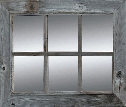 Rustic Window Pane Mirror | Rustic Barnwood Mirror | Country 6-Pane ...
