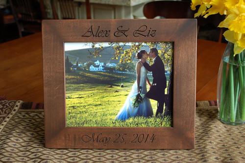 8x10 Engraved Wood Personalized Wedding Frame