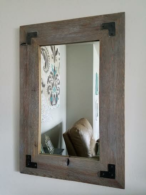 Wood Mirror With Metal Brackets Sweetwater Style Mirror