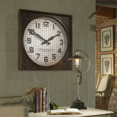 Warehouse Industrial Clock With Grill Uttermost