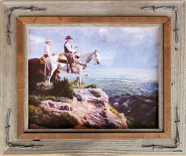Western Frames Barnwood Photo Frame With Barbed Wire 16x20