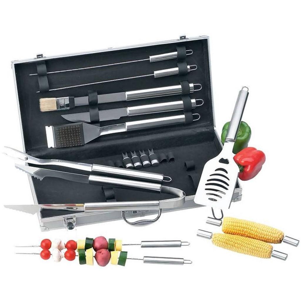 Chefmaster 18-Piece BBQ Tool Set w/Case KTBQSS18