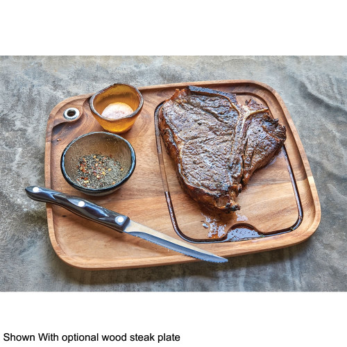 Optional wood barbecue steak plate