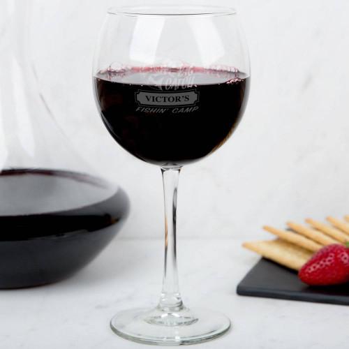 Big Catch Fishin' Camp Wine Glass