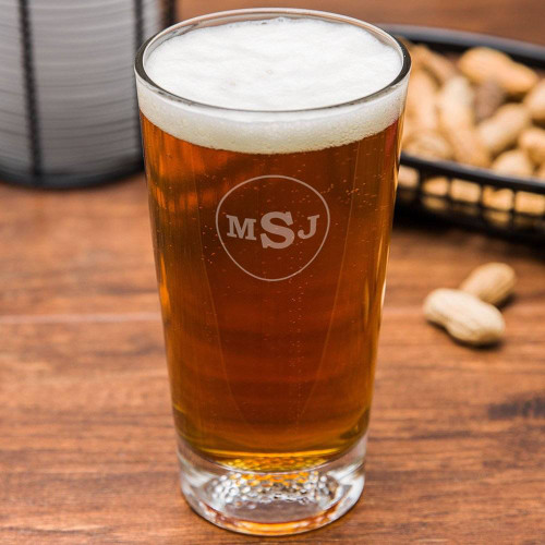 Circle Monogram Golf Beer Glass