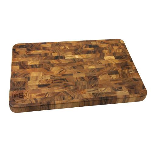 Circle Monogram Large End Grain Cutting Board