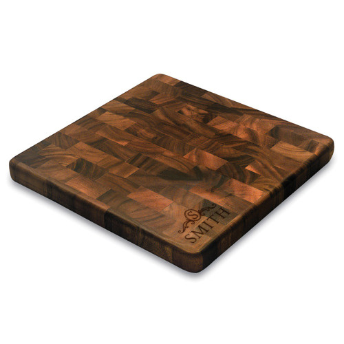 Langham Monogram Square End Graing Cutting Board