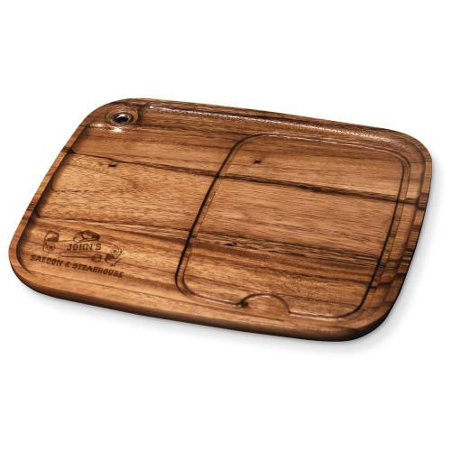 Western Saloon Personalized Wood Steak Plate