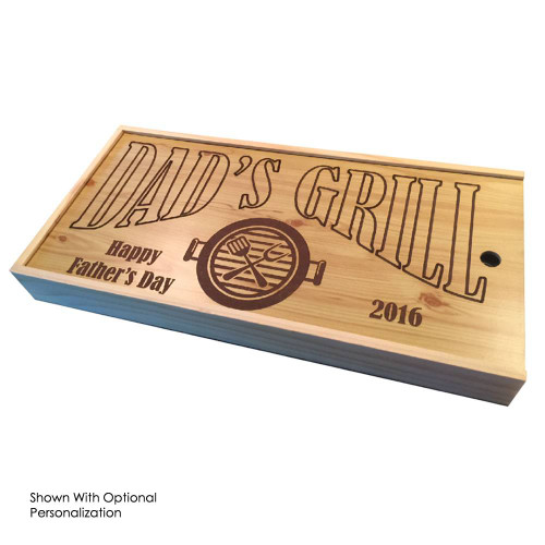 3 Piece BBQ Set in Wooden Pine Box optional personalization