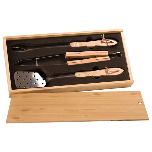 3 Piece BBQ Set in Wooden Pine Box BBQ01