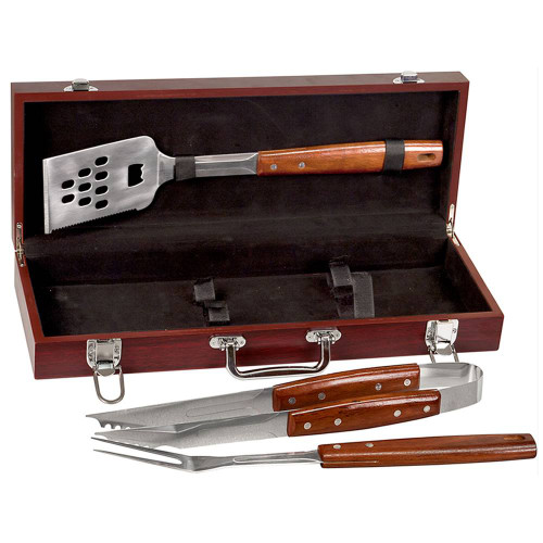 3 Piece BBQ Set in Rosewood Finish Case