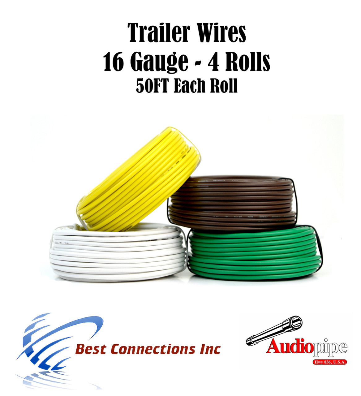 4 Way Trailer Wire Light Cable for Harness 50 FT Each Roll 16 Gauge ...