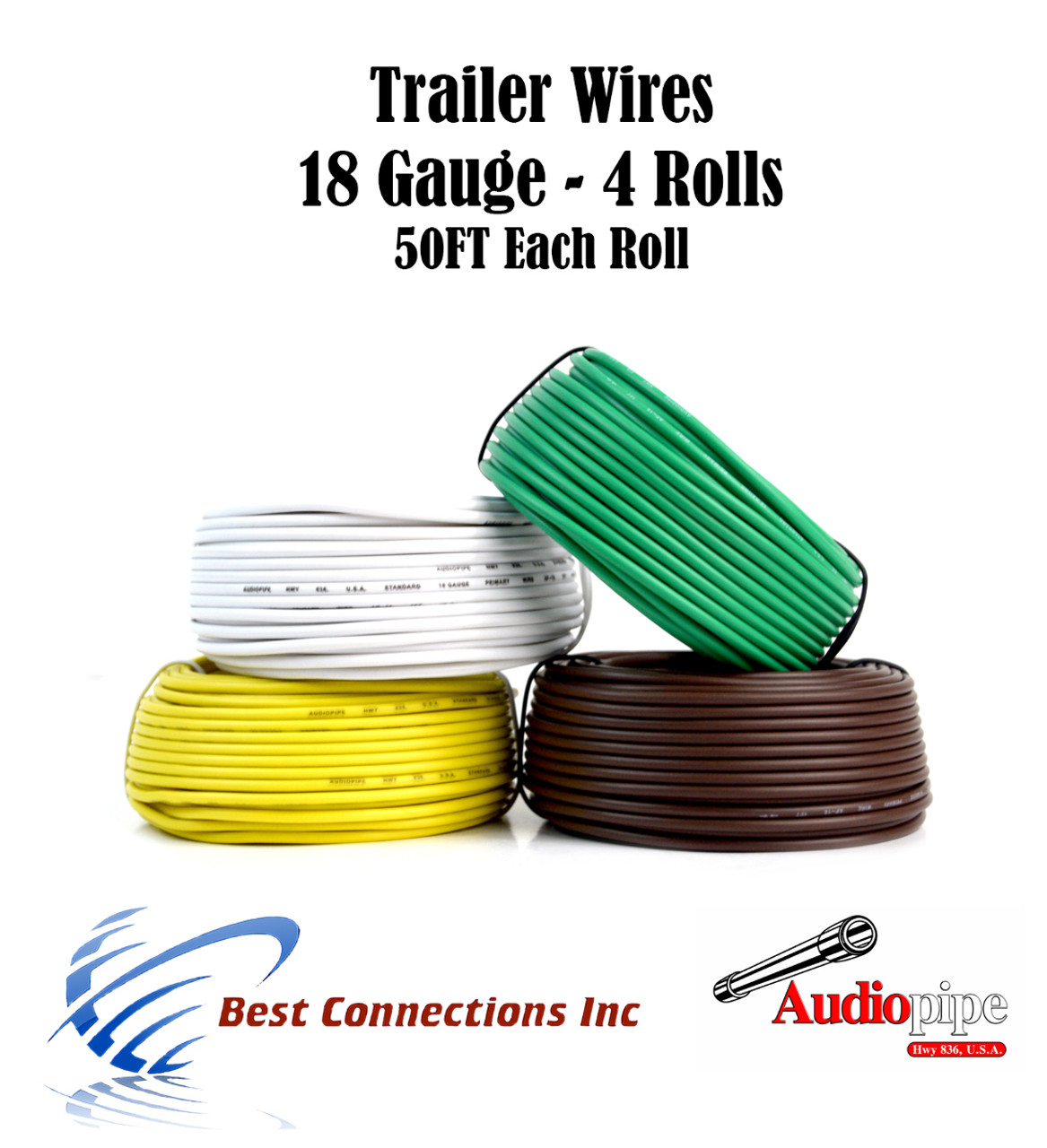 4 Way Trailer Wire Light Cable for Harness LED 50ft Each Roll 18 ...