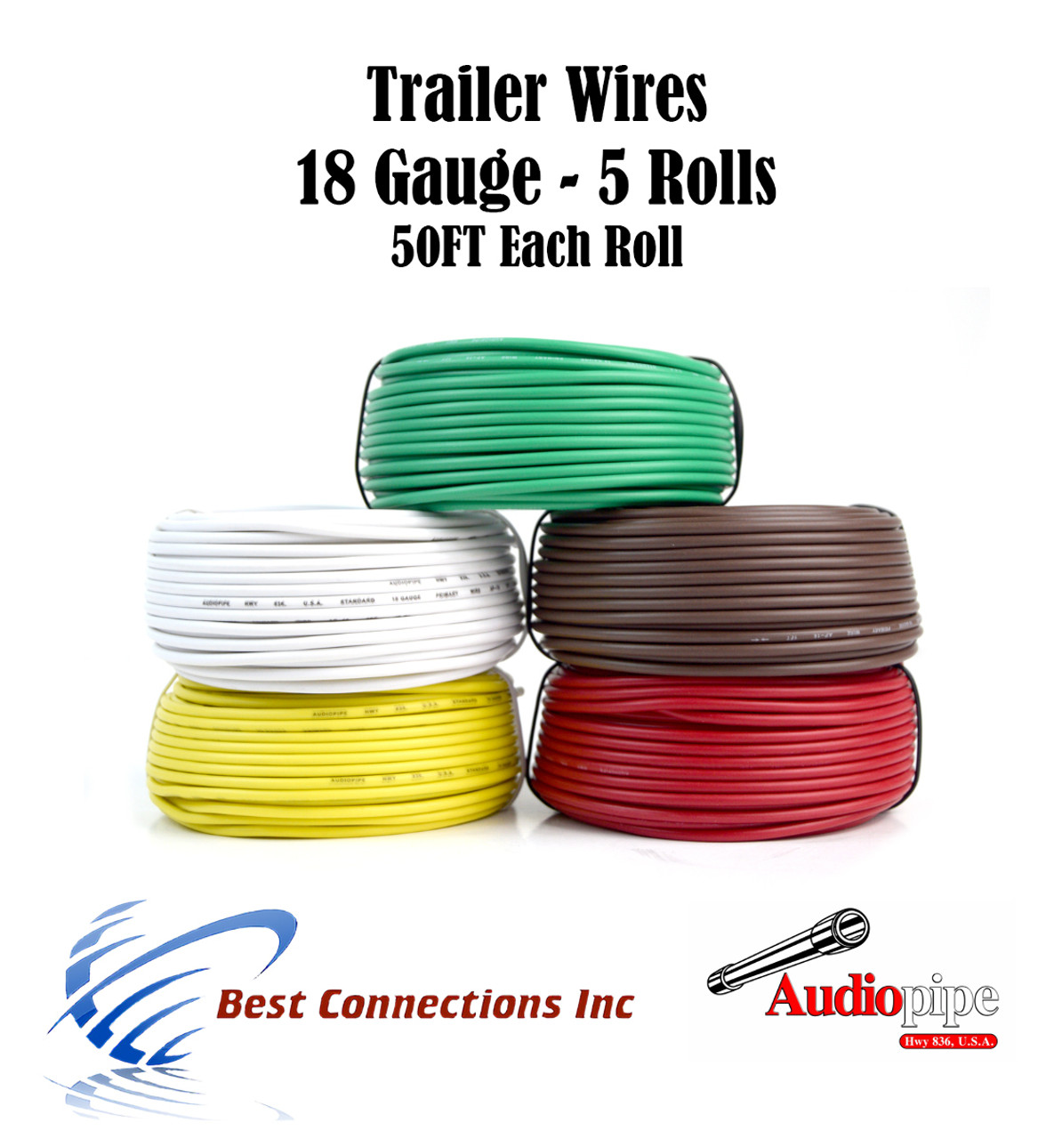 5 Way Trailer Wire Light Cable for Harness LED 50ft Each Roll 18 ...