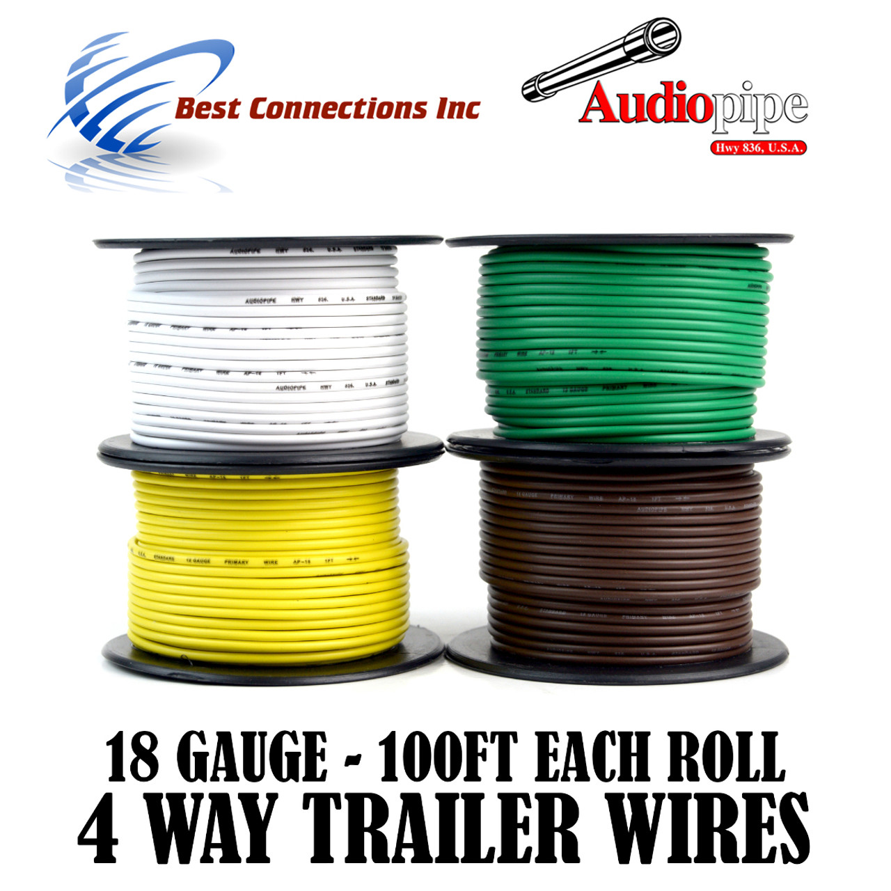 Trailer Wire Light Cable for Harness 4 Way Cord 18 Gauge - 100ft ...