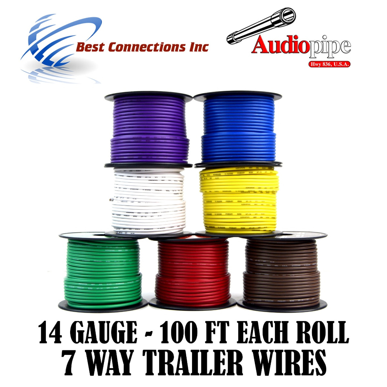 14 Gauge 100 Feet Trailer Light Cable Wiring Harness 7 Colors Rewire ...