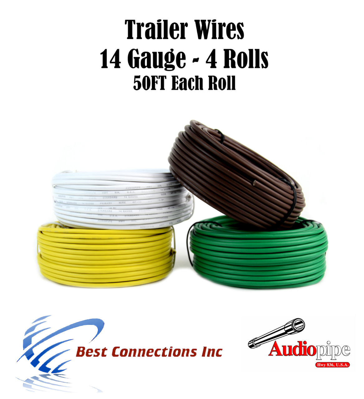 Trailer Light Cable Wiring For Harness 50ft spools 14 Gauge 4 Wire 4 ...