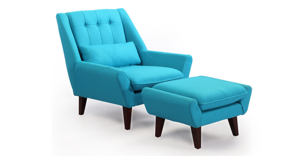 Stuart Chair & Ottoman, Deco Blue