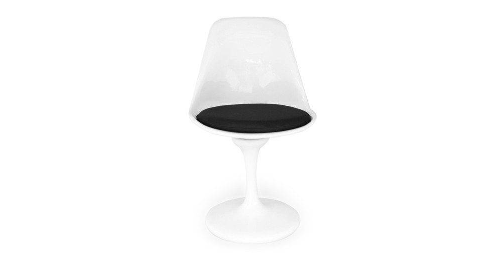 Tulip Style Chair White Fiberglass, Black Cashmere Wool