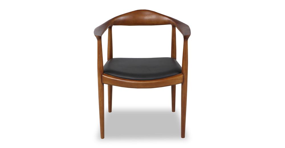 Wegner President Chair, Black Leather/Dark Ash
