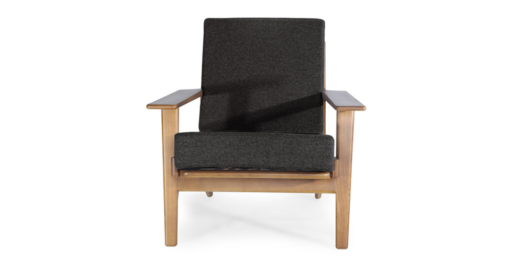 Wegner Plank Chair, Charcoal/Walnut Stain