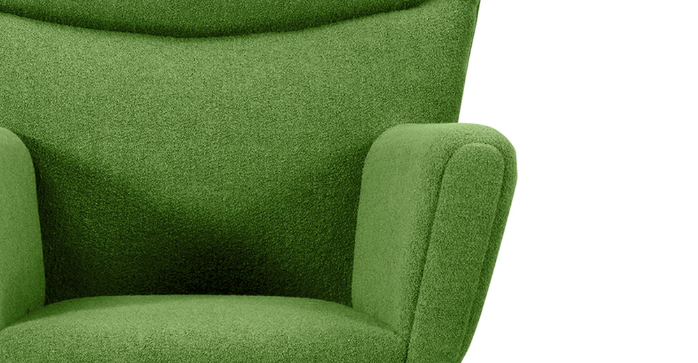 ... Wegner Wing Chair U0026 Ottoman, Apple Green ...
