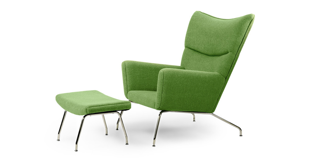 Wegner Wing Chair & Ottoman, Apple Green