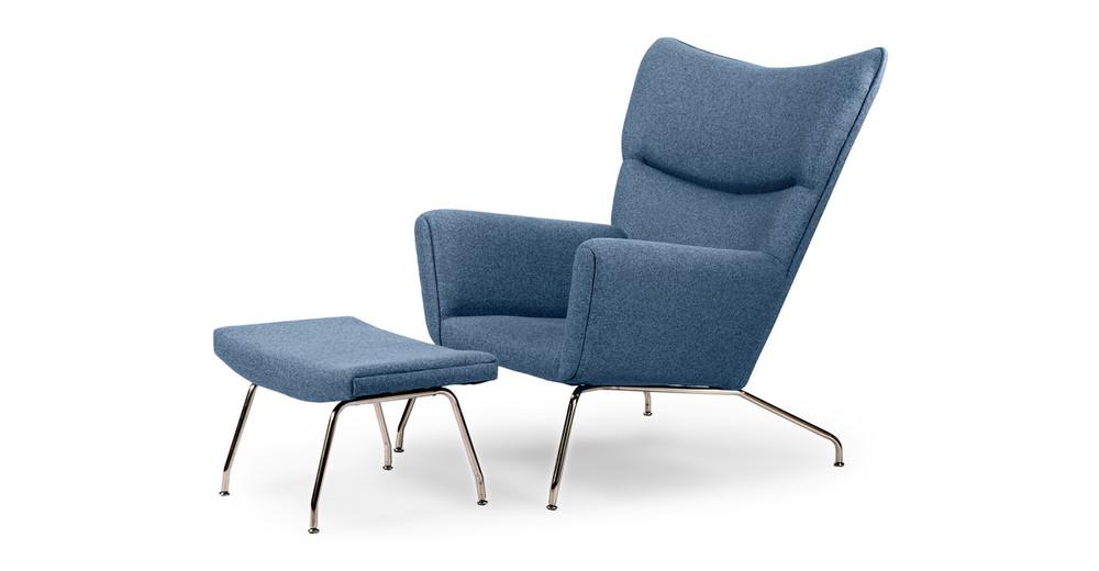 Wegner Wing Chair & Ottoman, Azure