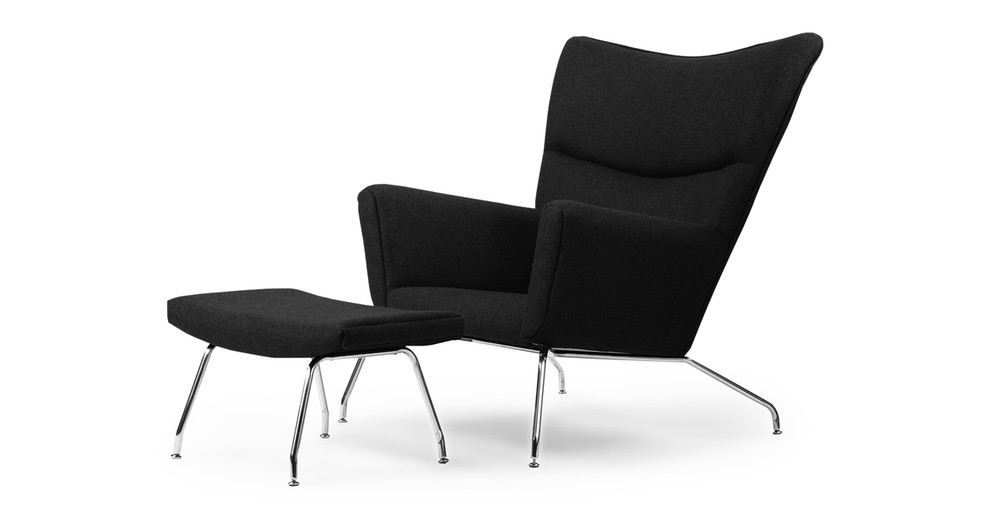 Wegner Wing Chair & Ottoman, Black Cashmere