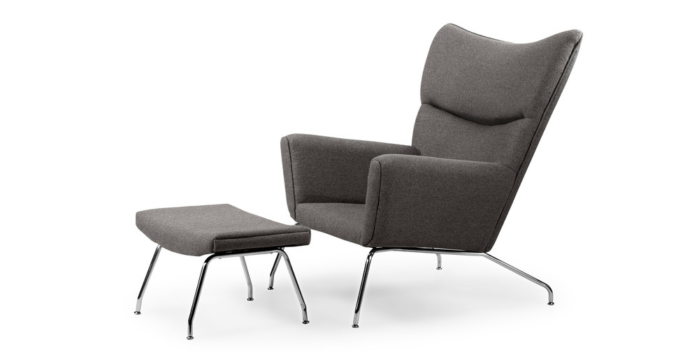 Wegner Wing Chair & Ottoman, Cadet Grey