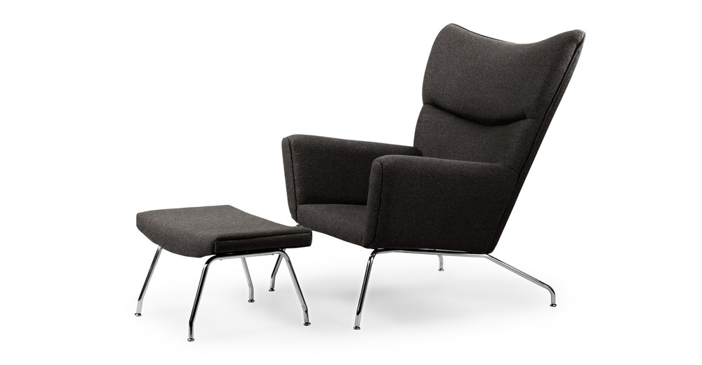 Wegner Wing Chair & Ottoman, Charcoal