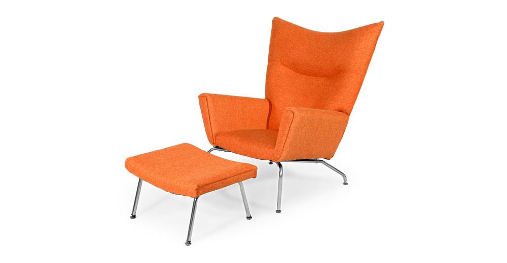 Wegner Wing Chair & Ottoman, Cinnabar