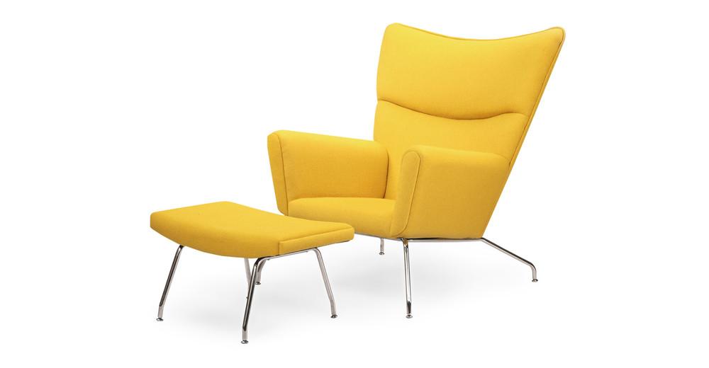 Wegner Wing Chair & Ottoman, Citron