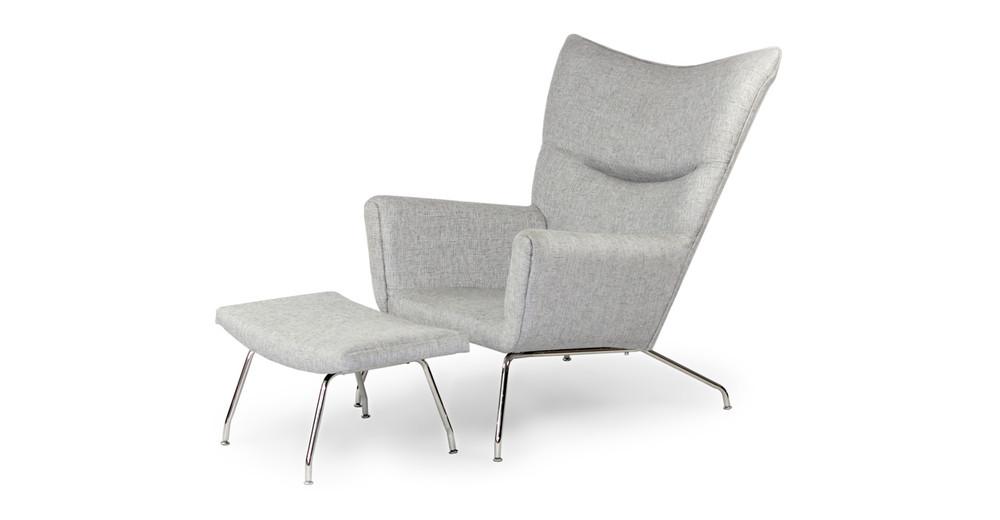 Wegner Wing Chair & Ottoman, Dacite