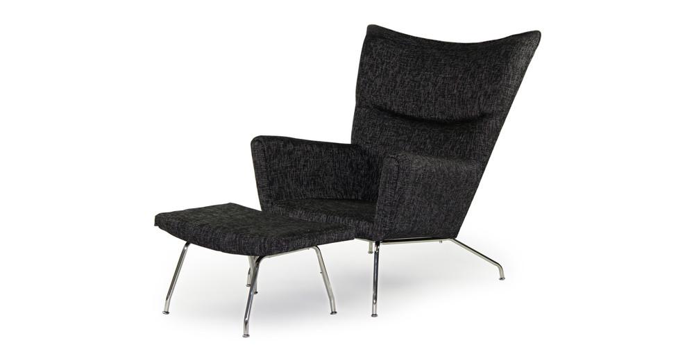 Wegner Wing Chair & Ottoman, Graphite