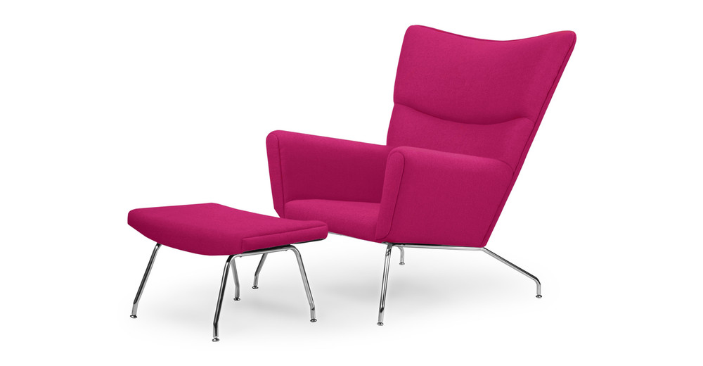 Wegner Wing Chair & Ottoman, Pom Fusion