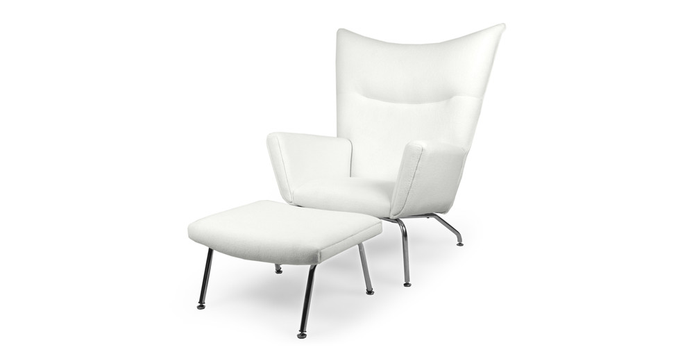 Wegner Wing Chair & Ottoman, White Cashmere