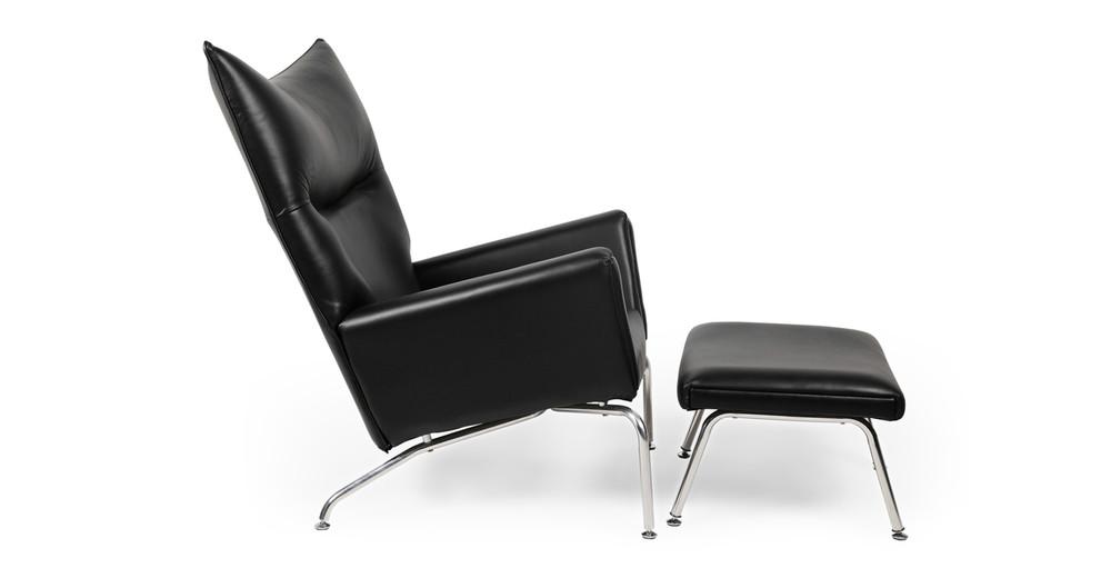 Wegner Wing Chair Amp Ottoman Black Premium Leather Kardiel