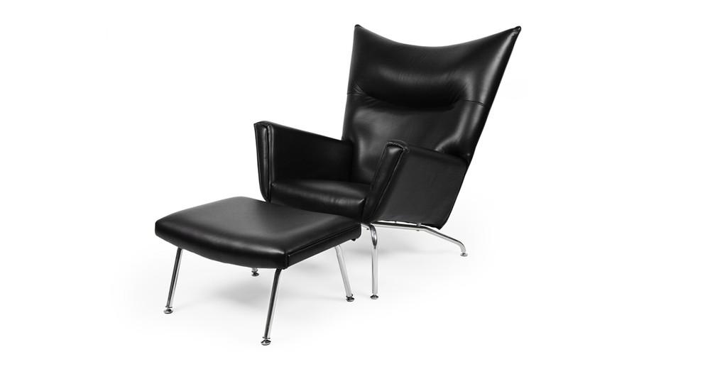 Wegner Wing Chair & Ottoman, Black Premium Leather