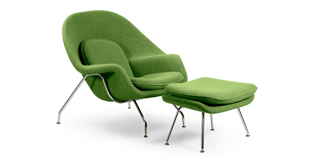 Womb Chair & Ottoman, Apple Green