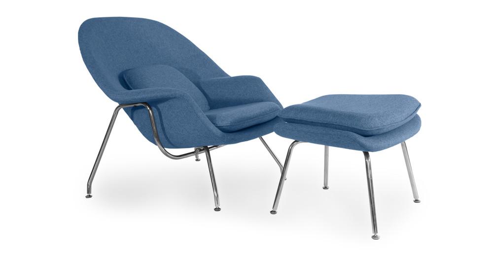 Womb Chair & Ottoman, Azure