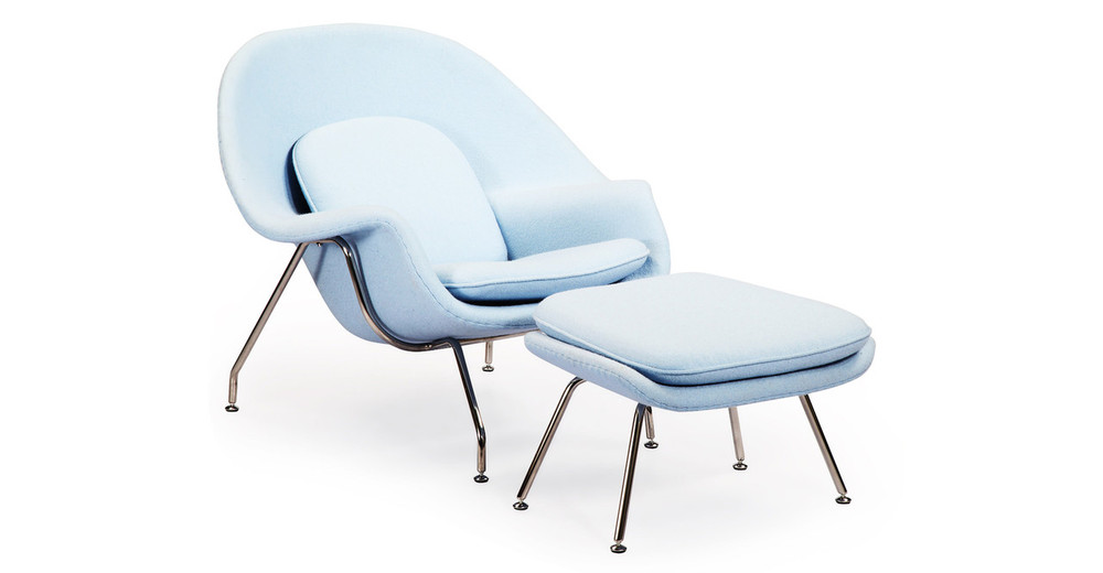 Womb Chair & Ottoman, Baby Blue