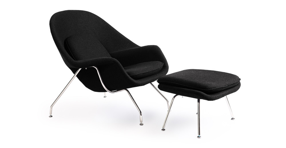 Womb Chair & Ottoman, Black
