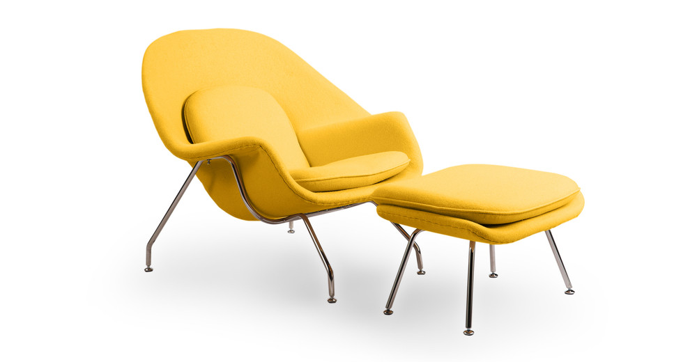 Womb Chair & Ottoman, Citron
