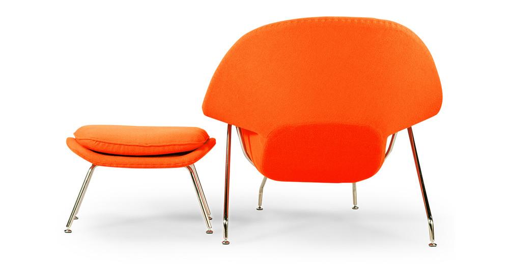 womb chair ottoman orange kardiel. Black Bedroom Furniture Sets. Home Design Ideas