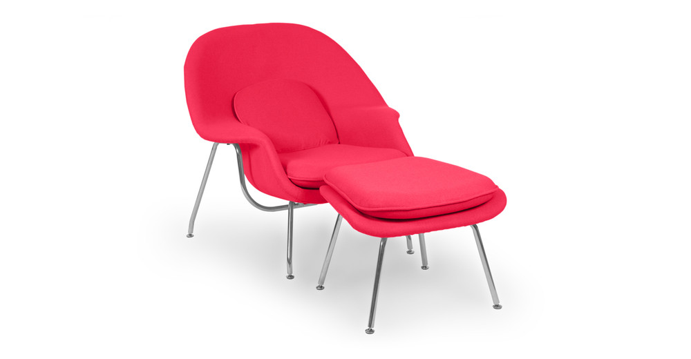 Womb Chair & Ottoman, Pink